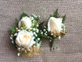 Corsage And Boutonniere Set For Prom With Ivory Roses And Gold Accent