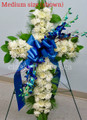 White Standing Cross Flower Arrangement With Blue Orchids