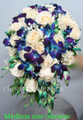 Cascading Bridal Bouquet With Blue Orchids And Roses.