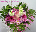 Round Bouquet With Pink And Purple Mixed Flowers
