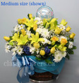 New Baby Boy Basket Flower Arrangement