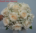 Nosegay Bridal Bouquet  With Roses And Baby's Breath.