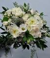 Bridal Bouquet With  Roses, Dahlias, Lisiantus, Eucalyptus  Organic Style