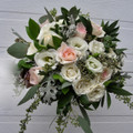 Bridal Bouquet With Blush Roses, Lisiantus, Eucalyptus  Organic Style