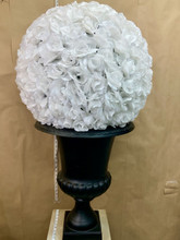 Artificial white roses hanging ball