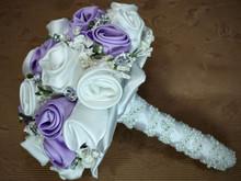 Satin fabric roses bridal bouquet