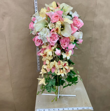 Cascading bridal bouquet with artificial flowers