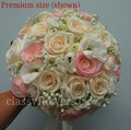 Bridal Bouquet With Blush Pink, Ivory Roses And Lisianthus.