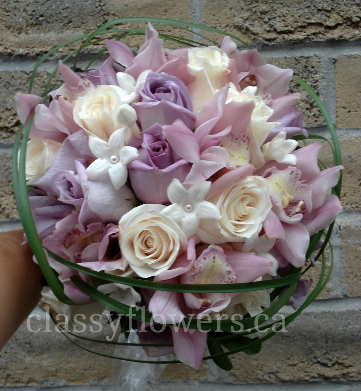 Mauve Cymbidium Orchids Mauve Ivory Roses And Stephanotis Bridal Bouquet Classy Flowers