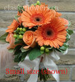 Bridesmaid Bouquet With Orange Gerberas And Roses