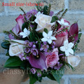 Bridesmaid Bouquet Hand Tied With Purple Mini Calla Lilies, Roses And Stephanotis