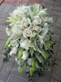 Cascading Bridal Bouquet White Mini Calla Lilies, Oriental Lilies, Orchids and Roses
