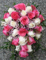 Cascading Bridal Bouquet Pink/Ivory Roses With Wax Flowers