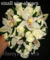 Cascading Bridal Bouquet Cream Roses And Cymbidium Orchids