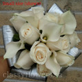 Bridesmaid Bouquet With Ivory Roses, Mini Calla Lilies And Silver Aspidistra Leaves