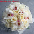 Hand Tied Bridal Bouquet  Cymbidium Orchids And Roses