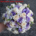 Purple Lisianthus And Ivory Roses Bridal Bouquet