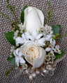 White Roses With Hyacinth Wrist Corsage