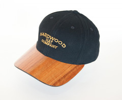 Koa Bill Hardwood Hat with Logo, Solid Color Fabric