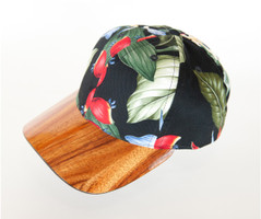 Koa Bill Hardwood Hat, Aloha Fabric