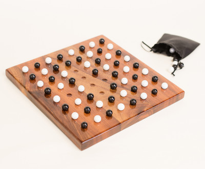 Large konane board, with playing pieces and satin bag