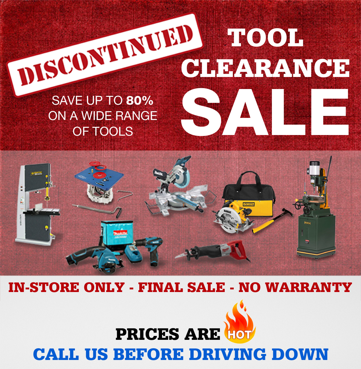 Discontinued Tool Clearance Sale
