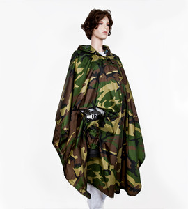 Camo Rain Cape is made of coated rip-stop nylon; and is 48 inches/ 1220mm long from the shoulders and 58 inches/1475mm wide. Camo Rain Cape is designed to work with Pho-Reel or other shoulder camera straps.