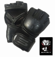 Spirit Pitch Black Leather MMA Gloves