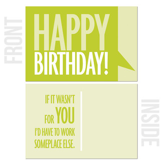 Front & Inside of Birthday Card