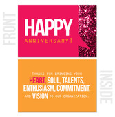 Thank You For Bringing Your Heart, Soul, Talents... - 10-Pack Happy Work Anniversary Cards