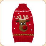Reindeer Alpaca Sweater--Pom Pom Nose
