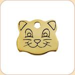 Flat Brass Cat Face