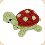 Crocheted Red Turtle