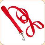 Double Handle Nylon Dog Leash--Red