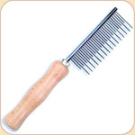 Shedding Comb--Metal with Wood Handle