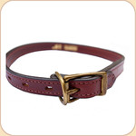 "Flat Leather Buckle 3/4"" Collar--Chestnut"