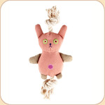 One Rope Canvas Pink Bunny Toy