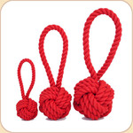 Cotton Rope Knot Tug in Red --3 sizes