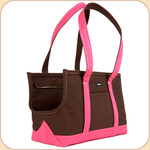 Canvas Tote in Chocolate/Hot Pink Trim