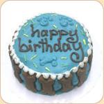 Boxed Happy Birthday Cake--blue & carob