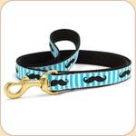 Black Moustache on Blue Striped Leash