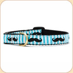 Black Moustache on Blue Striped Cat Collar