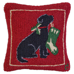 "18"" square hand hooked throw pillow, made with 100% wool. Zippered velveteen backing with poly-fill pillow insert. Designed by Laura Megroz.  This pup wants to hang up his stocking too, in anticipation of all kinds of treats. We hope he's been good this year!"