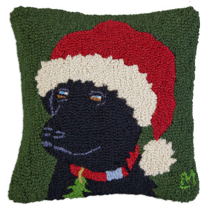 """18"""" square hand hooked throw pillow, made with 100% wool. Zippered velveteen backing with poly-fill pillow insert. Designed by Laura Megroz.  Black Lab is striking looking Santa dog! He adds a little canine cheer and dog love to your Christmas traditions."""