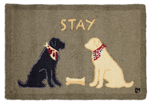 "2'x3' hand hooked accent rug. made with 100% natural wool. Designed by Laura Megroz.  Based on our popular ""Stay"" design, this accent rug features two lovable labs as they obediently wait for their masters."