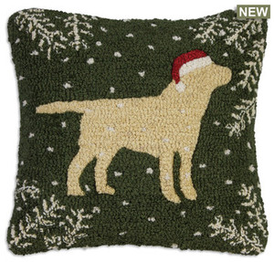 """18"""" square hand hooked pillow, made with 100% natural wool. Zippered velveteen backing with poly-fill pillow insert. Designed by Laura Megroz.  Golden lovers and Christmas lovers unite in this gorgeous hooked wool holiday pillow! A handsome golden retriever in a cheerful red Christmas stocking cap stands out proudly on a navy background with pine boughs in corners and snowflakes drifting down."""