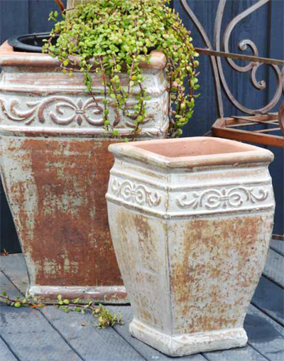 Beau French Antique Style Square Pot ...