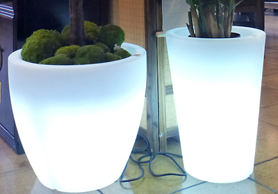 Outdoor safe lighted planters
