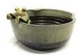 Green Black Water Bowl with Frog