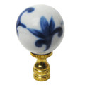 Blue and White Porcelain Ball Finial (Hand Painted)